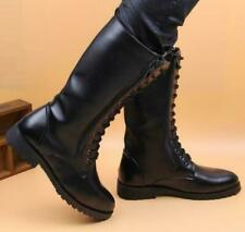 Mens Combat Leather Knee High Boots Breathable Lace Up Black Riding Casual Shoes