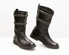 Womens Tory Burch Black Connell Chain Boots Size 9M Moto Style Biker Boot Nice