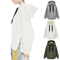 Women Loose Winter Thicken Hooded Long Hoodie Tops Long Sleeve Cocoon Coats TP