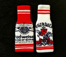 Budweiser Knitted Ugly Sweater Beer Koozie Christmas Holiday rare (Set of 2)