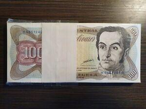 1998 Venezuela 100 Bolivares Pack 100 Pcs Consecutive.Bundle AU/UNC Rare.