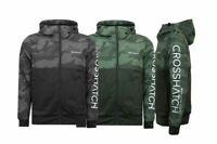 Mens Crosshatch Camo Zipped Army Hoodie Hooded Jacket Coat Wind Breaker AW19