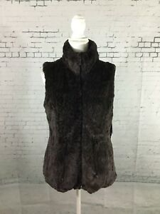 NWT GALLERY Coats WOMEN'S LEOPARD PRINT POLYESTER REVERSIBLE VEST JACKET SIZE M