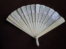 Vintage Small Creme Celluloid Fan Excellent Condition