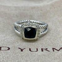 David Yurman Sterling Silver Black Onyx & Diamond Petite Albion Ring Size 6