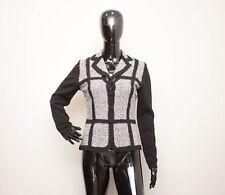 GERARD DAREL Ladies Black Patchwork Cardigan Top Wool Size 40