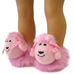 """POODLE Slippers!!! Too CUTE!!! for American Girl 18"""" Doll Clothes"""
