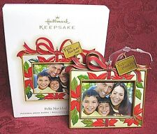 Hallmark Photo Holder Ornament Feliz Navidad 2009 Poinsettia Picture Frame NIB