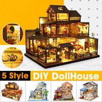 Japanese Villa DIY DollHouse Miniature Furniture Kits LED Light Gifts Toy