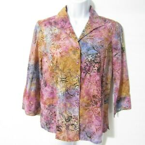 Christopher & Banks Blouse Top sz SMALL Pink Purple 3/4 Sleeve Button front NEW