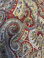Vintage Fabric Paisley Cotton Multi Colors 35 X 2.6 Yards