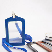 EE_ PU Leather ID Window Card Badge Case Pass Holder Pocket Neck Strap W/ Lanyar