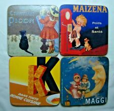 Vintage French Ads set of 4 coasters