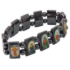 Stretch Elastic Bracelet Hematite With Images of Saints from Holy Land Jerusalem