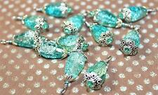 Vintage Dangles Silver Turquoise Glass  Acrylic Beads Drops Pendants Charms B15