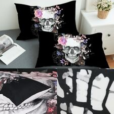 Set of 2 Black Skull Pillowcase Cover King & Queen Size Bedding Pillow Case