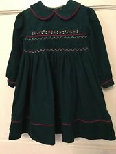 Holiday Green Corduroy Dress by Sarah Louise: Hand Smocked; 100 % Cotton