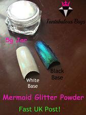 Efecto De Azúcar Arte Uñas Brillo Polvo Iridiscente Sirena tendencia Arco Iris uñas fino