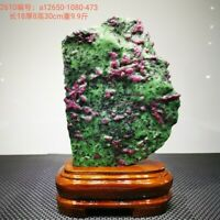 10.89LB Large/Heavy Extremely Rare Natural Ruby ZOISITE Quartz Crystal w/St m113