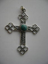 Sterling Silver Gothic Cross With Genuine Turquoise Pendant New