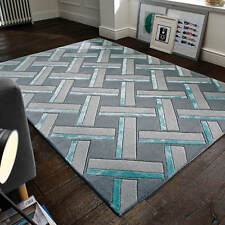 Flair Rugs Botanical Parquet Hand Carved Rug Grey/duck Egg 160x230cm (5x8')