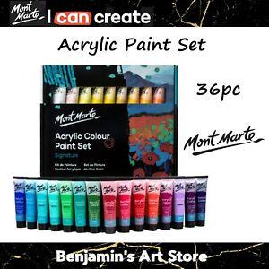 AU Mont Marte 36pc Acrylic Paint Set 36ml Studio Artist Student Painting Bright