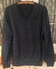03d7efbbe1182b J Crew V Neck Blue Cotton Sweater Heathered Melange Mens Medium NWOT $59