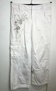 Karen Millen Y2K embroidered beaded wide cuffed leg cargo pants trousers 12 VGC