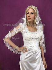 MANTILLA LACE VEIL WITH BEADED LACE EDGE SPANISH CATHOLIC VEIL IN WHITE AND COMB