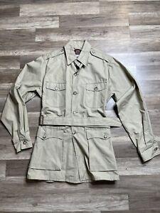 Rare Willis & Geiger Red Label Safari Hunting Fishing Tan Jacket w/ Belt Men 40L