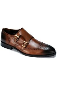 Jack Martin - Handmade - Tan Burnished Genuine Leather Double Monk Strap Shoes