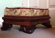 Victorian Rosewood Footstool Upholstered With Floral Tapestry, Scroll Feet C1840