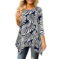 Women's Casual Irregular Printed Long Sleeve Blouse Loose Tunic Tops T-Shirt USA
