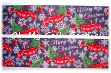 1.5 MERRY CHRISTMAS RED VINTAGE HOLIDAY TRUCKS GROSGRAIN RIBBON 4 HAIRBOW BOW