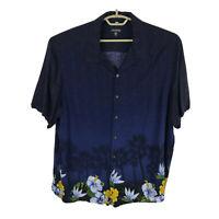 George Hawaiian Shirt Mens Size 2XL Rayon Blue Floral Short Sleeve Button Down
