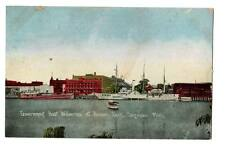 """1908 vintage postcard""""Government Boat Wolverine at Armory Dock,Saginaw,Mich Id'd"""