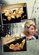 Twin Golden Satin Flowers Girls Alice Band Hair Band Classic Women Accessories