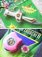 POWER RANGERS LOT: WHITE TIGER SWORD SABA KEYCHAIN & TURBO LAUNCHER (1993). BNOS