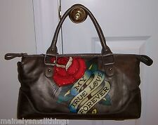 New Ed Hardy Belle Fleurs LUCY Sm Tote Bag MY TRUE LOVE FOREVER Pewter 1VP176BE