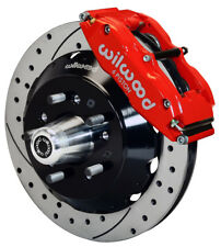 "WILWOOD DISC BRAKE KIT,FRONT,70-73 FORD,MERCURY,13"" DRILLED ROTORS,RED CALIPERS"