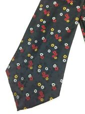 True Vintage Mens Necktie Kipper Wide Neck Tie Jacquard Black Shiny Floral Red