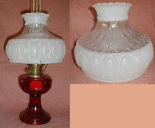"""10"""" CLEAR & ETCHED GLASS SHADE fits aladdin/student/banquet oil kerosene lamp"""