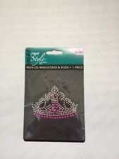Iron-On Next Style Fashion Art Rhinestones & Studs Princess Crown Pink