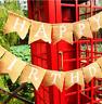 UK Happy Birthday Hessian Fabric Bunting Flag Birthday Party Decoration Flags