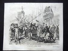 GRAVURE ANCIENNE 19e - LE CARNAVAL A ANVERS - BELGIQUE