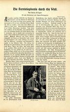 Die Ferntelephonie durch die Welt Spulenkasten Freileitung Bilder+Text von 1903