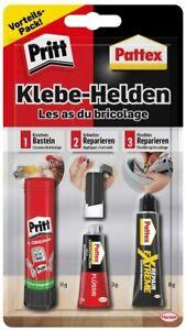 Pritt Pattex Klebehelden, 3-tlg. Vorteils-Pack Farblos Basteln Reparieren Kleber