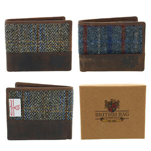 The British Bag Co Harris Tweed & Leather Wallet Gift Boxed 2 Colours Available