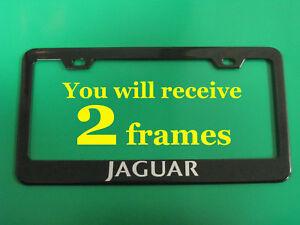 (2PCS)*JAGUAR* BLACK metal license plate frame with Screw Caps