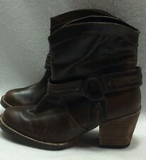 Womens Dingo 6.5M Fashion Ankle Boots Metro Chocolate Brown Buffalo Calf Leather